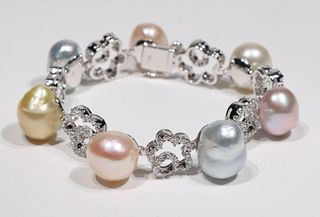 Multi-Colored Pearl and Diamond Bracelet