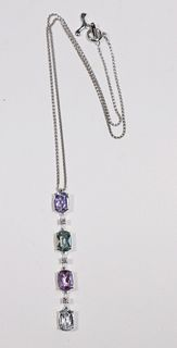 Antonini Colored Sapphire & Diamond Drop Pendant