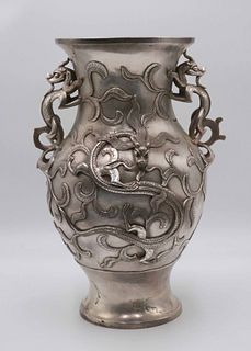 Large Chinese Silvered Bronze Double Handled Vase