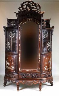 Chinese Carved Hardwood Armoire