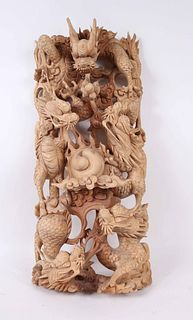 Chinese Intricately Carved Wood Dragon Sculpture