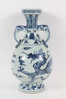 Chinese Blue-and-White Dragon Porcelain Vase