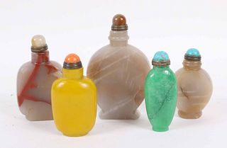 Five Chinese Stone/Peking Glass Snuff Bottles