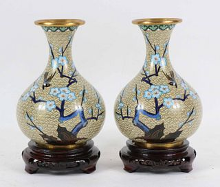 Pair of Chinese Floral-Decorated Cloisonne Vases
