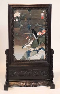 Chinese Carved Hardwood Painted Mirror on Stand
