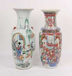 Two Large Chinese Famille Rose Vases