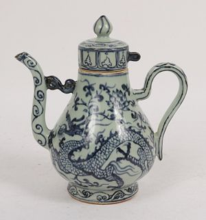 Chinese Blue-and-White Porcelain Teapot with Lid