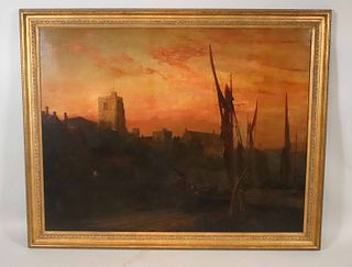 James Webb, Oil on Canvas, Sunset on the Thames