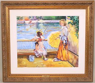 Katia Pissarro, Two Girls Fishing off Bridge