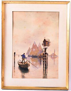 Watercolor Venetian Canal, Jeno Koszkol