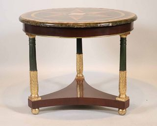 Empire Faux Inlaid Marble Circular Center Table