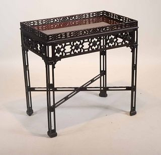 Chinese Chippendale Mahogany Silver Table