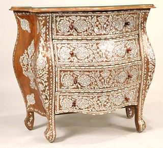 Moroccan Mother-of-Pearl Inlaid Bombe Commode