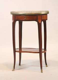 Louis XV Marble Top Marquetry Inlaid Stand