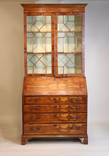 Chippendale Style Two Part Yewwood Secretary Desk