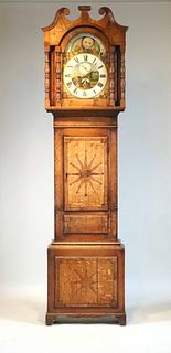 George III Provincial Inlaid Oak Tall Clock
