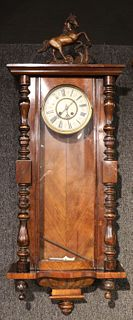 Regency Mahogany Horse-Decorated Wall Clock