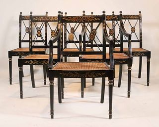 Six Black-Painted Caned Seat Dining Chairs