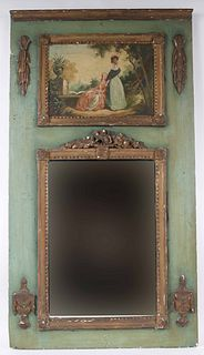 Neoclassical Gilt and Painted Trumeau Mirror