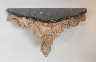 Rococo Style Marble Top Carved Beechwood Console