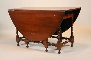 Jacobean Style Mahogany Drop Leaf Dining Table