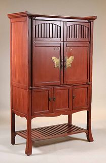 Chinese Style Red-Painted Cabinet