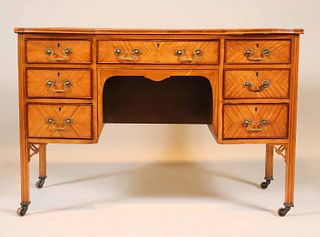 Neoclassical Leather-Inset Maple Writing Desk