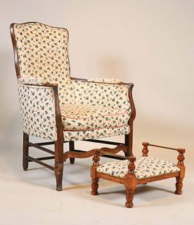 French Country Mahogany Armchair and Stool