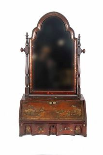 Chinoiserie Decorated Lacquer Shaving Mirror