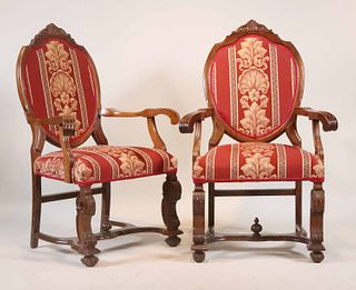 Pair of Victorian Style Mahogany Armchairs