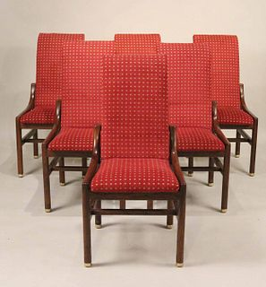 Six Stained Oak Henredon Dining Chairs