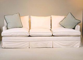 Contemporary White Slipcovered Sofa