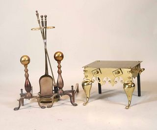 Group of Assorted Brass Fireplace Accessories