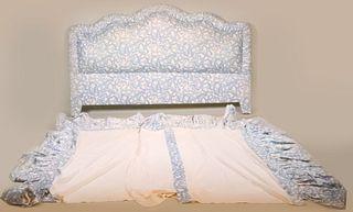 Blue & White Ribbon Pattern Upholstered Headboard