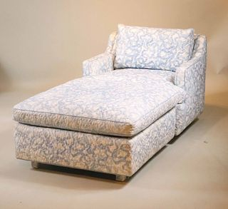 Blue & White Upholstered Club Chair and Ottoman