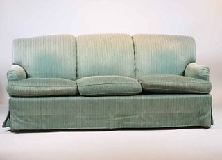 Contemporary Green-Upholstered Sofa