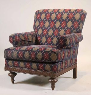 Contemporary Plaid-Upholstered Club Chair