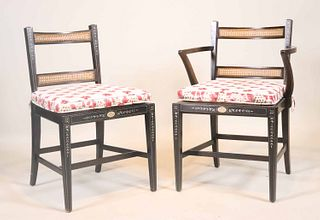 Pair of Paint Decorated Caned Back Chairs
