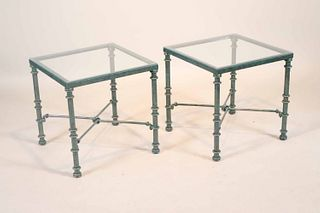 Pair of Green Painted Glass Top Metal Side Tables