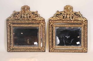 Pair of Baroque Style Brass Repousse Mirrors