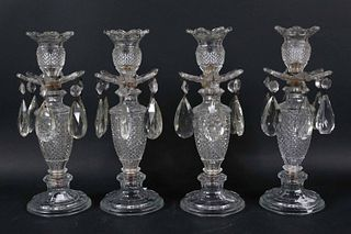 Four Pressed Glass and Crystal Candlesticks