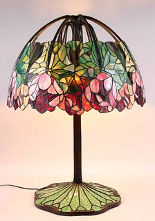 "Stained Glass ""Red Lotus"" Style Lamp, after Tiffany"