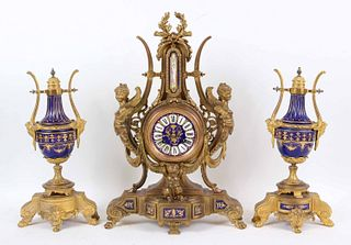 Phillipe H. Mourey Porcelain and Ormolu Garniture