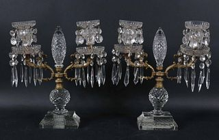 Pair of Gilt-Metal and Glass Two Arm Candelabra