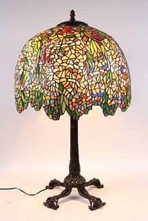 "Bronze & Stained Glass ""Laburnum"" Table Lamp, After Tiffany"