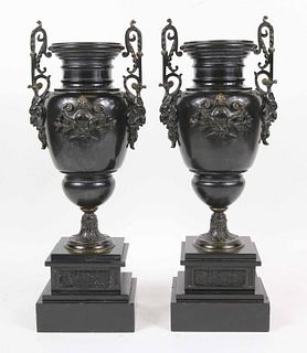 Pair of Neoclassical Style Patinated Metal Urns