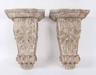 Pair of Distressed Painted Wall Brackets