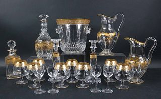 Saint Louis Crystal and Gold Ice Bucket