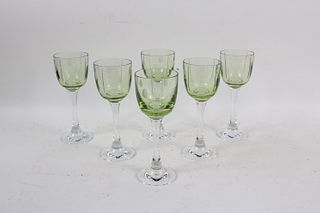 Thirty-Nine Baccarat Green Crystal Wine Glasses