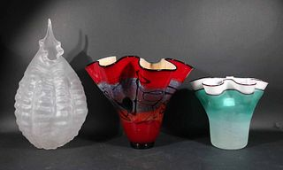 Two Ruffle Rim Art Glass Vases